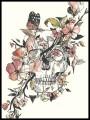 Haut crème imprimé tête de mort détails roses col asymétrique - taille S/M