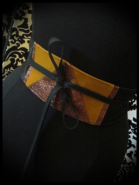 Black satin obi belt camel / brown glitter details - one size fits most