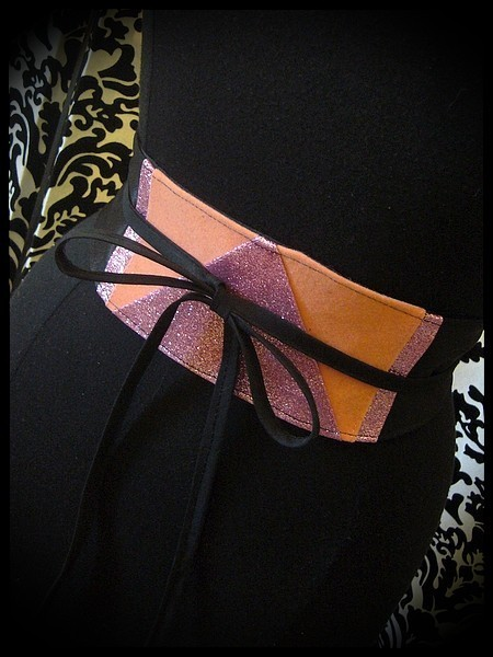 Black satin obi belt salmon / light pink glitter details - one size fits most