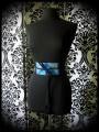 Black satin obi belt light blue / royal blue glitter details - one size fits most