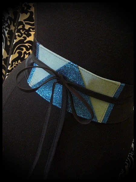 Black satin obi belt light blue / royal blue glitter details - one size fits most