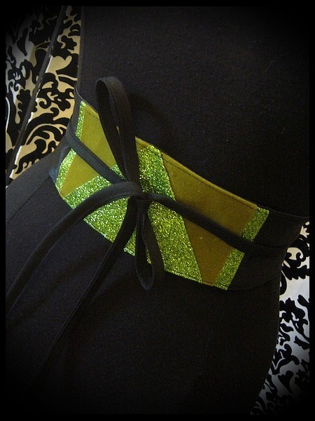Black satin obi belt khaki green / bright green glitter details - one size fits most