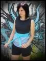 Haut noir et bleu à pois blancs avec ceinture intégrée - taille S/M