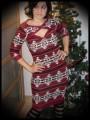 Robe droite imprimé aztèque rouge foncé/taupe/noir/blanc - taille S