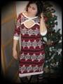 Wiggle dress dark red/taupe/black/white aztec print - size M
