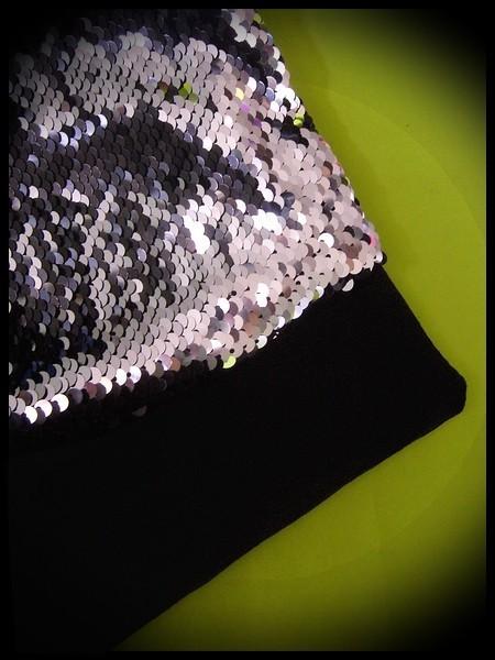 Sac pochette noir sequins réversibles argent / noir