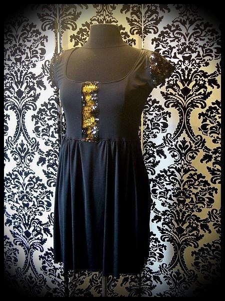 Black dress gold/black reversible sequins - size S/M