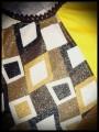 Mini dress yellow/black/brown asymmetric - size S/M