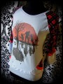 Light blue top w/ pockets red details zombies print - size S/M