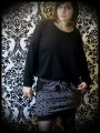 Taupe mini skirt black dots brown details - size S/M