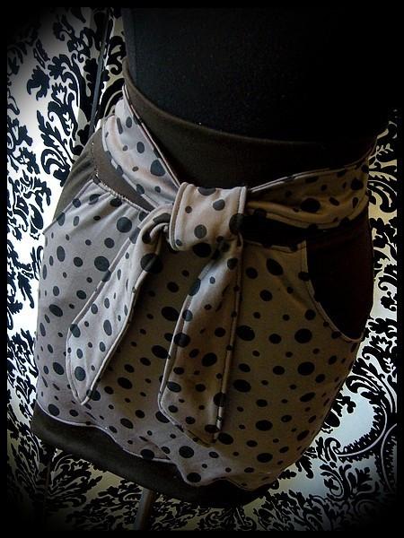 Mini jupe taupe pois noirs détails marrons - taille S/M