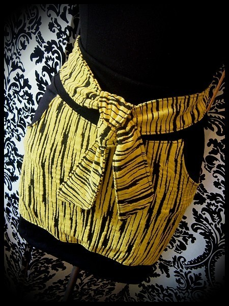 Yellow/black striped mini skirt brown details - size S/M