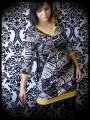 Black/white graphic print dress yellow details - size S/M