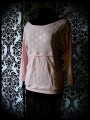 Pale pink top w/ pocket silver dots print - size M/L