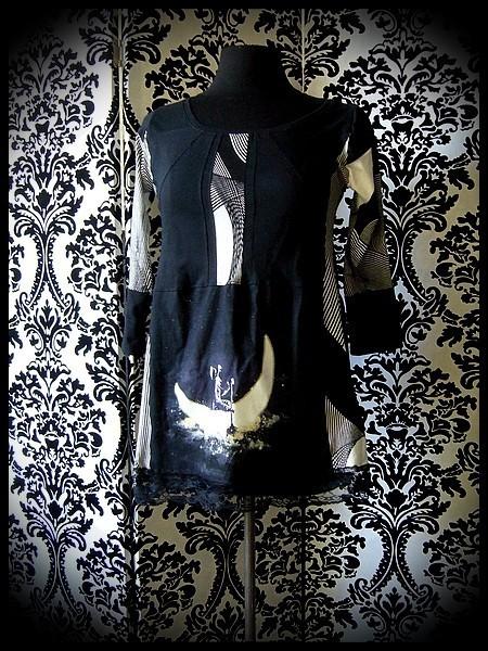 Haut noir imprimé astronaute motif rayures - taille S/M
