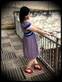 Blue white red dress triangles print royal blue belt - size S/M