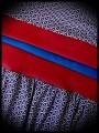 Blue white red dress triangles print red belt - size M/L