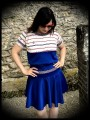 High waisted royal blue skirt triangles details - size L