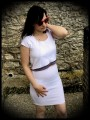 Robe droite blanche faux crop top - taille S/M