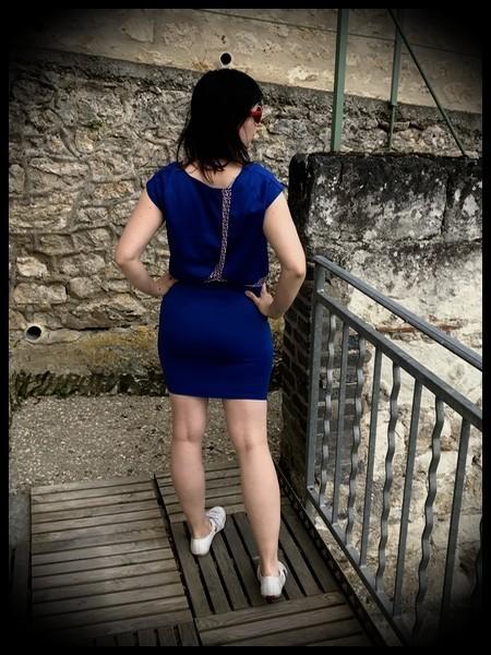 Robe droite bleue faux crop top - taille S/M