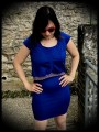 Royal blue wiggle dress faux crop top - size S/M