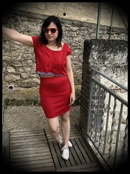 Robe droite rouge faux crop top - taille M/L