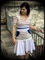 Blue white red top anchors print white belt - size S