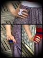 Adjustable ring - white / royal blue / red bow