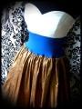 Strapless dress white blue bronze wild silk - size S/M
