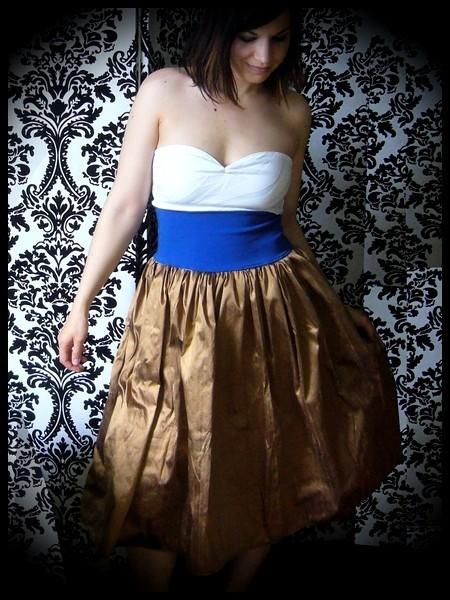 Robe bustier blanche bleue bronze soie sauvage - taille S/M