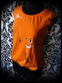 Orange top with open back fox print - size M/L