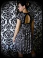 Black dress with open back graphic print - size S/M