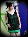 Green trapeze dress black lace - size S/M