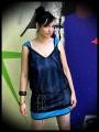 Robe trapèze bleue dentelle noire - taille S/M
