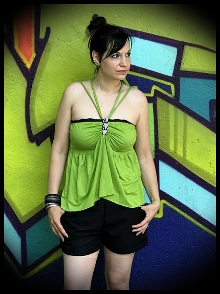 Lime green top with multi straps - size S/M