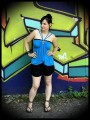 Turquoise blue top with multi straps - size S/M