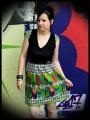 Robe multicolore motifs triangles détails verts - taille XS/S