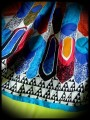 Multicolored dress triangle print blue details - size M/L