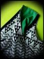 Loose top black/white geommetrical print green details - size M/L