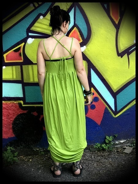 Robe longue à bretelles vert anis - taille S/M
