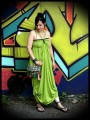Lime green maxi dress with multi straps - size S/M