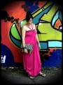 Hot pink maxi dress with multi straps - size M/L