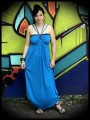 Turquoise blue maxi dress with multi straps - size L/XL