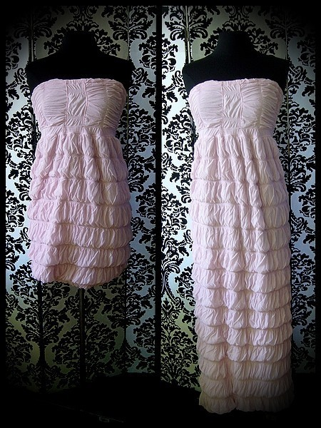 Pale pink strapless dress adjustable length - size S/M