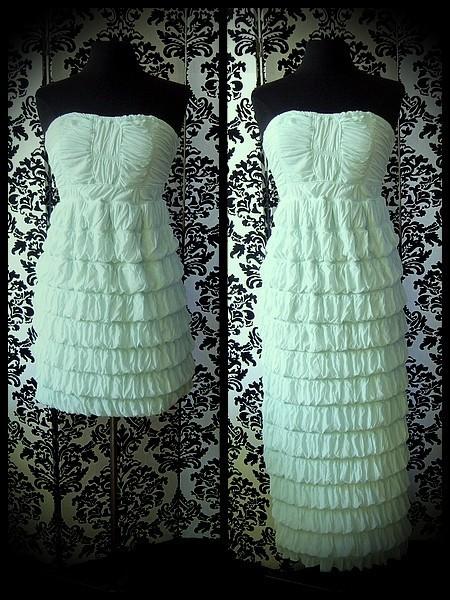 Aqua green strapless dress adjustable length - size M/L