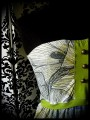 Bustier à poches motif floral détails vert anis - taille M/L