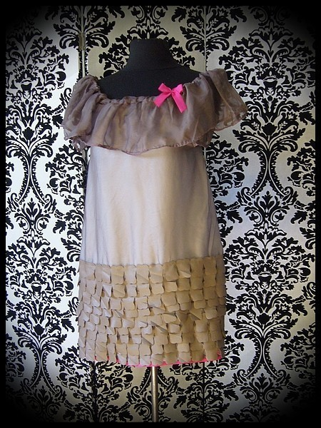 Taupe muslin dress hot pink details - size S/M