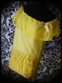 Robe à volant mousseline jaune détails dorés - taille M/L