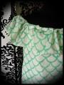 White Bardot top green fish scale print - size S/M