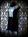 Robe noire empiècement écailles multicolore - taille S/M
